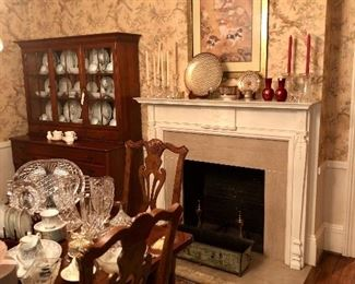 another view of the dining room including the fireplace.