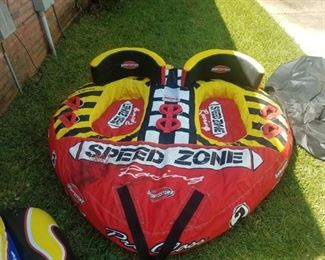 Speed Zone boat towable raft - This item is available for pre-sale at $75.00 Needs new plug, damage free.