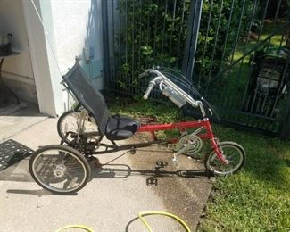 Sun recumbent trike - bicycle bike. Clean, GENTLY used, and it shows. Not many miles on this one! Bike is available for pre-sale - priced at $400.00