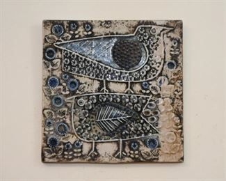 Vintage Mid Century Wall Hanging / Plaque / Art Tile - 2 Birds