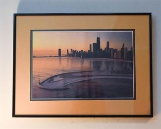 Framed Art Photo / Photograph - Chicago Sunset