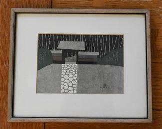Framed Japanese Woodblock Print , Kiyoshi Saito