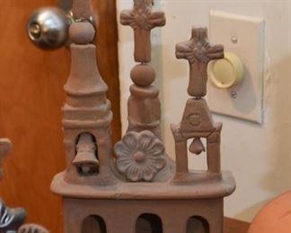 Mexican Folk Art Clay Pottery Churches