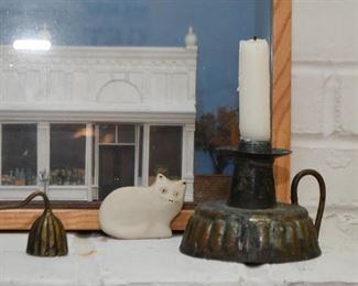 White Cat Figurine, Copper / Tin Candle Holder