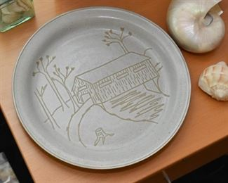 Stoneware Plate with Cabin