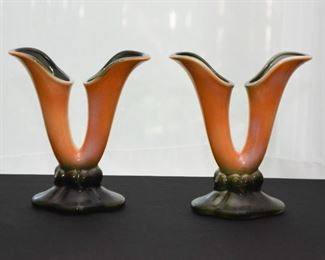Vintage Double Fluted Pottery Vases (Hull)