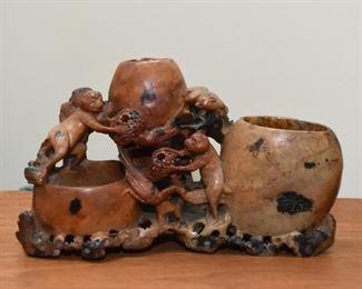 Chinese Carved Soapstone Triple Brush Pot - Monkeys