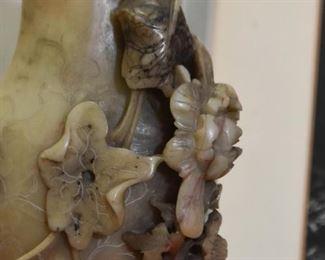 Chinese Carved Soapstone Vase / Brush Pot - Flowers