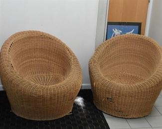 Mid Century Modern Wicker / Rattan Egg Chairs