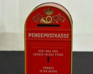 Vintage Danish Mail Box Tin Bank