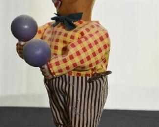 Vintage Wind Up Clown Toy - Maracas