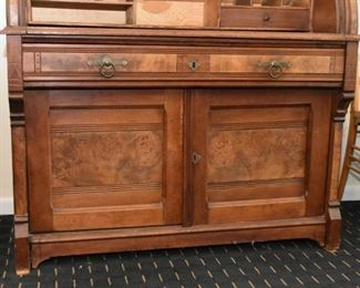 Antique Victorian / Eastlake Roll-Top Secretary with Display Hutch