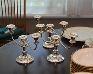 Silver Plate Candlesticks / Candelabras (Set of 3)