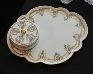 Vintage China (Art Nouveau Tray Platter with Covered Jar)
