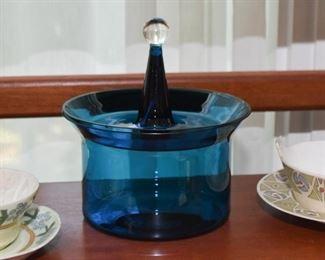 Vintage Blue Glass Covered Jar