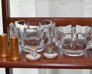 Art Glass Centerpiece Bowls, Salt & Pepper Shakers