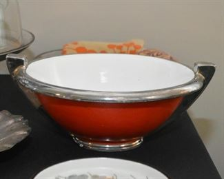 Art Deco Style Red Centerpiece / Serving Bowl