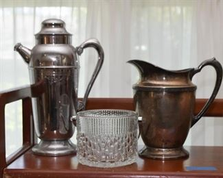 Silver Plate Pitchers, Glass Ice Bucket