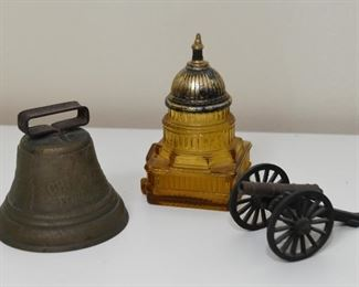Brass Bell, Capitol Building Bottle, Metal Canon