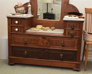 Antique Victorian Eastlake Vanity / Dresser / Chest with Marble Top (missing 2 original drawer pulls)
