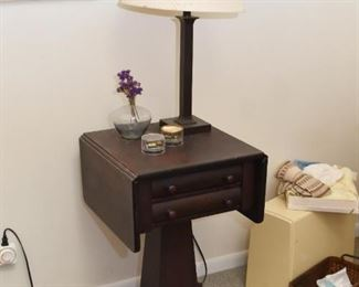 Antique Drop Leaf Side Table with Drawers, Table Lamp