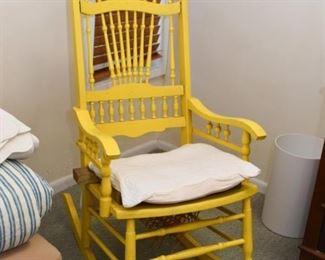 Yellow Rocking Chair / Rocker (seat needs repair)