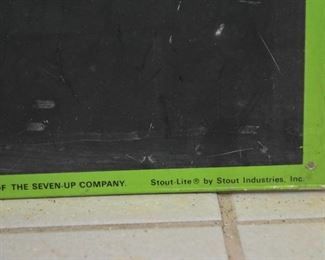 Vintage 7 Up / Seven Up Tin Chalkboard Sign (Stout-Lite by Stout Industries, Inc.)