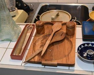 Teak Serving Board & Wooden Utensils