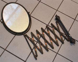 Industrial Age Oval Scissor Accordion Wall Mount Shaving / Vanity Mirror