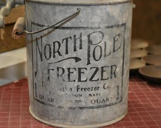 Antique North Pole Freezer Hand Crank Ice Cream Maker (missing some parts)
