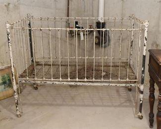 Antique Iron Baby Crib