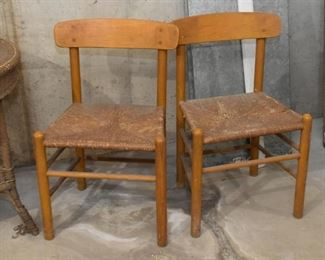 Pair of Vintage Wooden Chairs with Rattan Seats