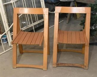 Pair of Vintage Wooden Folding Chairs