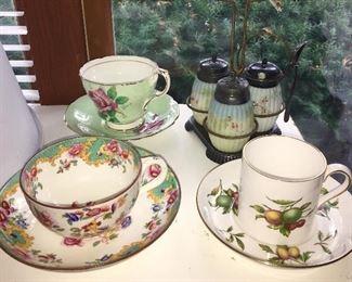 Vintage cups & saucers, antique condiment set