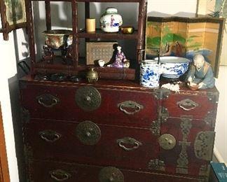 2 piece Oriental chests antique collectibles