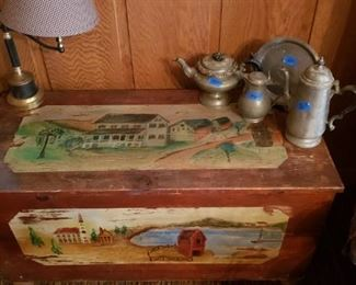 Painted chest, pewter, tole lamp
