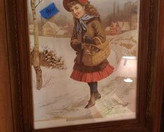 Framed antique lirhograph