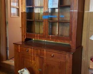Cherry stepback cupboard, 19th cent.