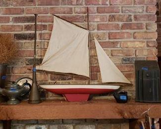 Schooner,horn, pewter teapot, knife box