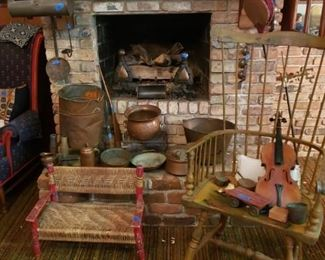 Child's rush seated bench, violin, andirons, and copper implements and vessels