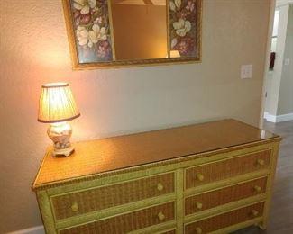 Wicker Dresser.  Mirror & Lamp