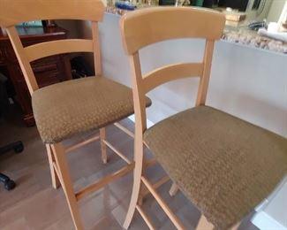 Light Wood, Upholstered Seats Bar Stools