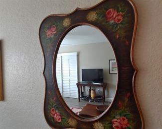 Hand Painted Mirror-Vintage Look
