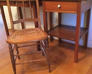 Vintage Desk, Caned Chair and Side Table https://ctbids.com/#!/description/share/228051