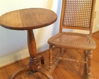 Vintage Round Pedestal Table and Cane Rocking Chair https://ctbids.com/#!/description/share/228197