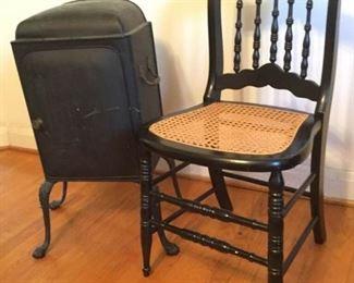 Vintage Clawfoot Pie Safe and Cane Chair https://ctbids.com/#!/description/share/228682