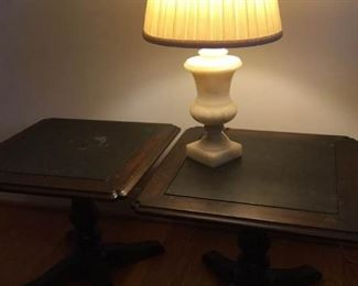 Country Cherry End Tables and Marble Lamp https://ctbids.com/#!/description/share/229581