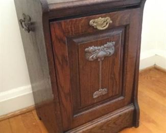 Vintage Solid Wood Coal Shuttle Bin Cabinet https://ctbids.com/#!/description/share/228015