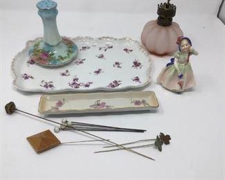 Antique Hat pins and Ladies Dresser Set. (13 items) https://ctbids.com/#!/description/share/231000