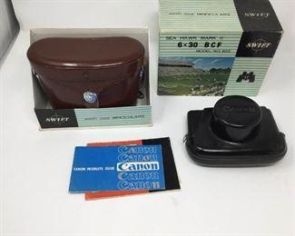 Vintage Canon Camera and Binocular Set ( 2 pieces) https://ctbids.com/#!/description/share/230999